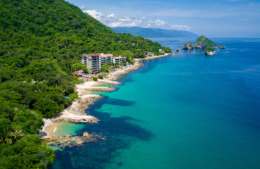 Drone view of South side beaches of Puerto Vallarta